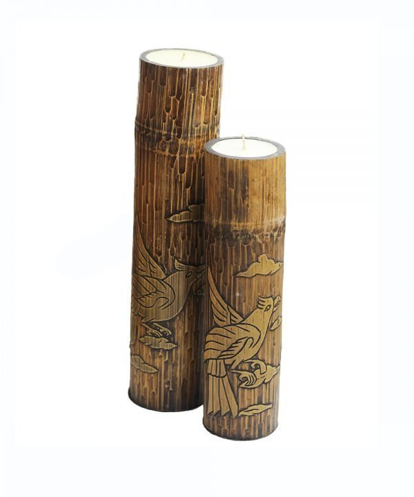 Coppia candela in bamboo
